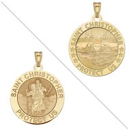 Swimmer  male    Saint Christopher Doubledside Sports Religious Medal