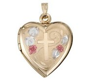 Solid 14K Yellow Gold Heart Color Cross Locket