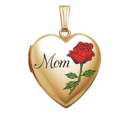 14K Gold Filled Mothers Day  Mom Rose  Heart Locket