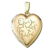 Solid 14K Yellow Gold  Mom with Daughter and Two Sons  Locket