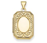 Solid 14K Yellow Gold Emerald Shaped Locket