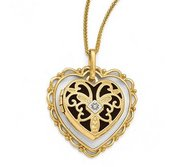 Solid 14K Yellow Gold Diamond Heart Locket w  Floral Frame