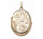 14K Gold Filled  4 Page Photo  Flower Oval Locket