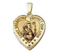 Solid 14K Yellow Gold  Sweetheart   Saint Valentine Locket