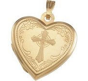 Solid HEART SHAPED LOCKET W CROSS