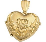 Solid 14K Yellow Gold Small Claddagh Heart Locket