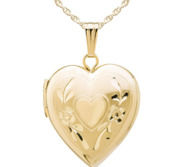 Solid 14k Yellow Gold Heart Locket w  Engravable Center
