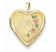 Solid 14k Yellow Gold Heart Mom Enameled Heart Locket