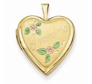 Solid 14k Yellow Gold Heart Grandma Enameled Heart Locket