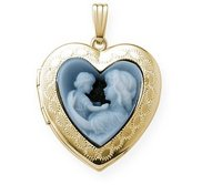 Solid 14K Yellow Gold Heart Cameo Locket