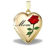 14K Solid Yellow Gold Mothers Day  Mom  Heart Locket