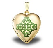 Solid 14K Yellow Gold  Color Celtic Knot   Sweetheart Locket
