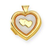 Solid Yellow Gold Mother of Pearl Locket