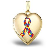 14K Yellow Gold  Autism Awareness  Heart Locket