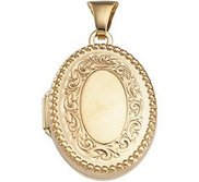 Solid 14K Yellow Gold Oval Shaped Locket