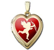 Solid 14K Yellow Gold  Valentines Cupid Silhouette  Sweetheart Locket