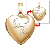 14K Yellow Gold  I Love You To the Moon and Back  Heart Locket