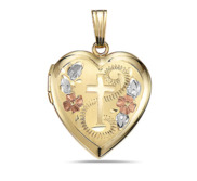 14K Gold Filled Cross Design Heart Locket