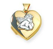 Solid 14K Cherub Angel Yellow Gold Heart Locket