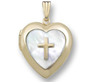 Solid 14K Yellow Gold  Cross  Locket  w  Mother of Pearl