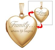 14k Yellow Gold Filled  Family Love  Heart Locket