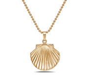 Gold Tone Seashell Locket w  18  Chain