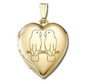 Solid 14K Yellow Gold  Sweetheart  Love Birds Locket