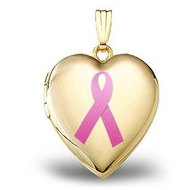 14K Yellow Gold  Breast Cancer Awareness  Heart Locket