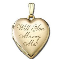 "Solid 14K Yellow Gold  "" Will You Marry Me ""  Sweetheart  Locket"