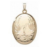 14K Gold Filled Lovebird Oval Locket