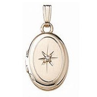 Solid 14K Yellow Gold Children s Oval Locket w  Genuine Diamond