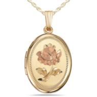 14K Gold Filled Rose Oval Locket