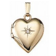 Solid 14K Yellow Gold Heart Locket with Diamond