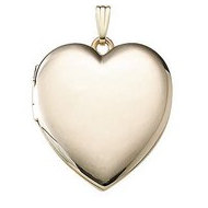 Solid 14K Yellow Gold  Large Heart Plain Locket
