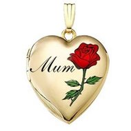 14K Gold Filled Mothers Day  Mum Rose  Heart Locket