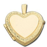 Solid 14k Yellow Heart Shape Yellow  Picture Locket