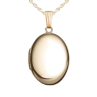 Solid 14k Yellow Gold Oval Locket