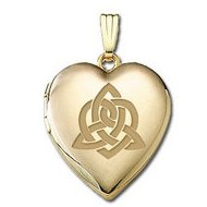 "Solid 14K Yellow Gold "" Sisters Love "" Celtic Heart Locket"