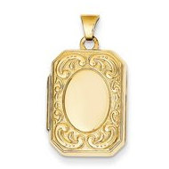 14k Yellow Gold Rectangle Floral Border Locket