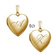 Solid 14K Yellow Gold  English Style Initial Locket
