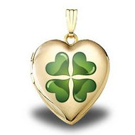Solid 14K Yellow Gold  Green Four Leaf Clover   Sweetheart Locket