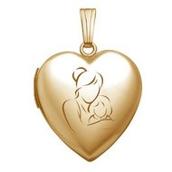 Solid 14K Yellow Gold  Mom and Daughter  Locket