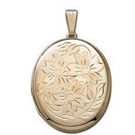 Solid 14k Yellow Gold XL Oval Floral Picture Locket
