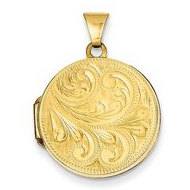 Solid 14k Yellow Gold Round Hand Engraved Picture Locket