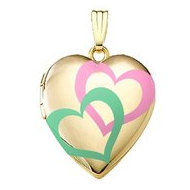 14K Gold Filled  Interlocking Color Hearts  Locket