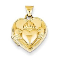 Solid 14K Claddagh Yellow Gold Heart Locket