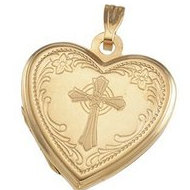 Solid HEART SHAPED LOCKET W/CROSS