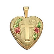 14K Gold Filled Yellow  Cross  Heart Locket w  Enamel