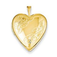 14K Gold Filled Heart Locket With Scrolled Design