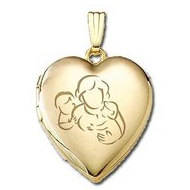 Solid 14K Yellow Gold  Mom with Son and Daughter  Locket